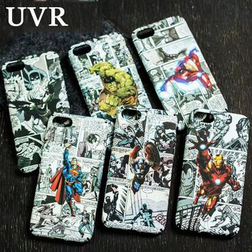 UVR Superman Ironman Spider Man Comics Hero Luminous Case Cover for iPhone 5 5S 6 6S Plus 7 Plus 3D Relief Water Decals Coque