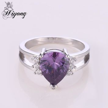 HIYONG Split Band Engagement Ring Teardrop Purple Cubic Zirconia Double Halo Rings for Women Cushion Cut Free Shipping Jewellry