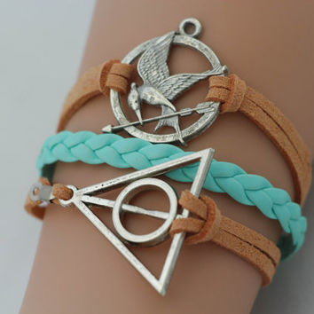 Combined Bracelet, Hunger Games Bracelet, Mockingjay Bracelet, Deathly Hallows Bracelet, Personalized Bridesmaid Jewelry, Friendship Gift