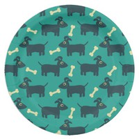Cute Dog Pattern with Bone on Green Background Paper Plate