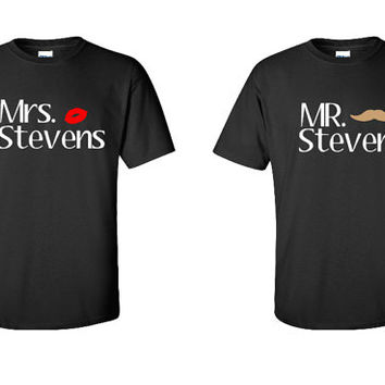 Mr. and Mrs. Shirts,  Set of 2, Wedding Shirts, His and Hers, Honeymoon Tee's, Matching Funny Shirts