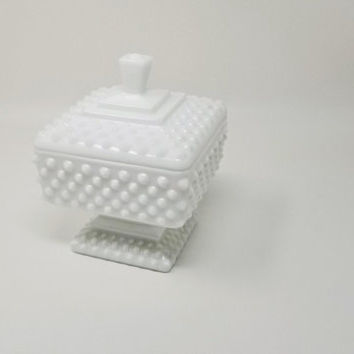 Fenton White Milk Glass Hobnail Square Pedestal Covered Candy Dish