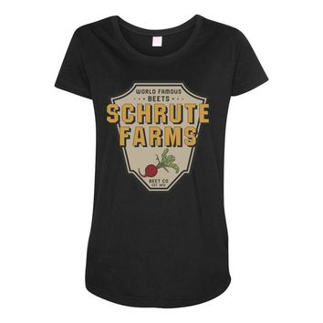 World Famous Beets Schrute Farms Maternity Scoop Neck T-shirt