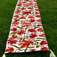 70 inches Table Runner Embroidered White Red Green/Table Decoration/Centrepiece/Table Linen/custom made/Rust bed throws/Runners