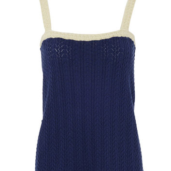 Navy Strappy Crochet Detail Top by Lowie