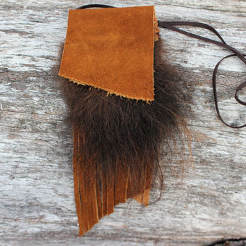 Buffalo Medicine Bag, Tobacco Bison Leather, Buffalo Fur, Shaman Necklace Pouch, Large Simple Fringed, Native American Inspired