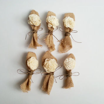 Cream rustic wedding Rustic Boutonniere Groom and groomsmen boutonniere, Sola Flower, Wedding Flowers custom