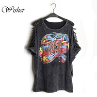 Fashion Design Top Brand Punk Style Hollow Out Shoulder Women T Shirts Desigaul Plus Size Women Clothing Big Size T Shirts