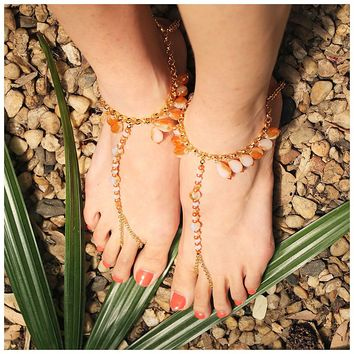 Cynthier 'Esther' Modern Boho Beaded Barefoot Sandals