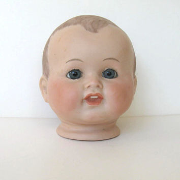 Vintage Antique Reproduction Large Bisque Porcelain Doll Head