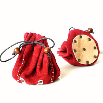 Drawstring leather pouch, Coin Purse, Jewelry bag, Boho style, Red