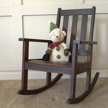 Rustic Wood Slat Childs Rocker, Childrens Rocking Chair, Small Antique Kids Wooden Chair