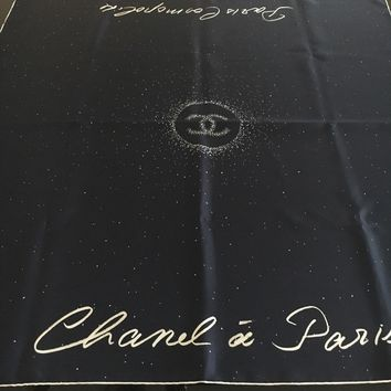 New Designer CHANEL Classic Fabulous Chanel Paris Silk Large Scarf Navy Italy