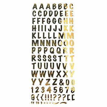 Alphabet Letters Caps Fancy Foil Stickers, Gold, 3/4-Inch, 107-Count