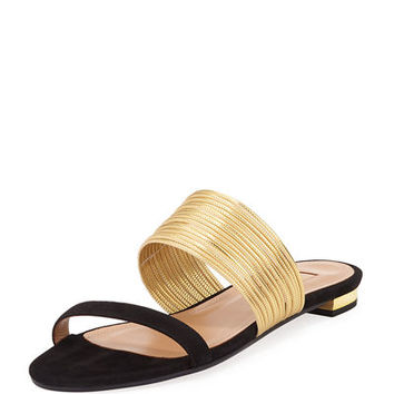 Aquazzura Metallic Two-Tone Strappy Slide Sandal