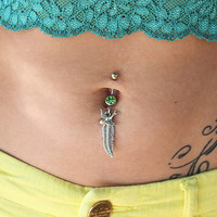 Sparrow Belly Button Ring - Belly Button Piercing - Sparrow Belly Button Jewelry - Dangle Belly Button Rings - Bellybutton Ring