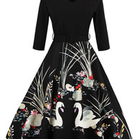 Black V-neck Floral And Swan Print 3/4 Sleeve Prom Midi Dress