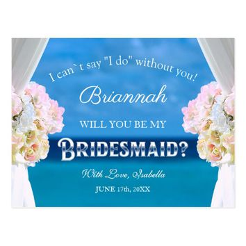 Elegant Ocean Beach Will You Be My Bridesmaid Postcard
