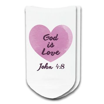 God is Love - Faith and Inspiration No-Show Socks - Ladies White Size 9-11