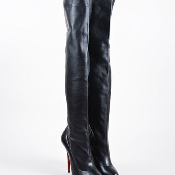 PEAPU2C Black Christian Louboutin Leather Sempre Monica 120 Thigh High Boots