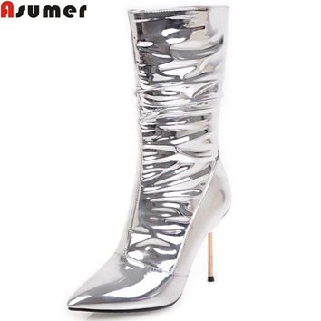 ASUMER silvery women boots fashion new arrive pointed toe zipper ladies boots super high thin heel sexy prom mid calf boots