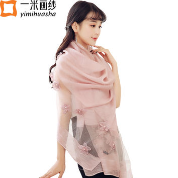 women scarf 2017 new design flowers embroidery shawls with beads elegant ladies solid soft cachecol feminino marca de lujo