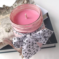 Sweet Pea & Vanilla scented Soy Candle - Hand Poured Soy Candle -- 16 ounce Hand Painted Mason Jar