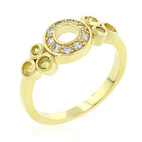 Yellow and Clear Fashion Ring