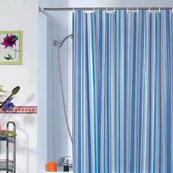 180x180cm Bathroom Luxury Stripe Mould-Resistant Bath Shower Curtain PEVA Blue