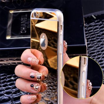 Gold Luxury Plating Bing Mirror Case Cover For iPhone 5 5s SE 6 6S 6S 8 Plus 7Plus Transparent TPU Frame Case Coque On 5 5s 5SE