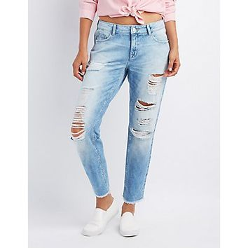 Refuge Crop Boyfriend Destroyed Jeans | Charlotte Russe