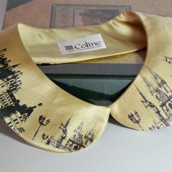Beige Satin Collar Necklace for Women Detachable Handmade Peter Pan Col Claudine With a city print