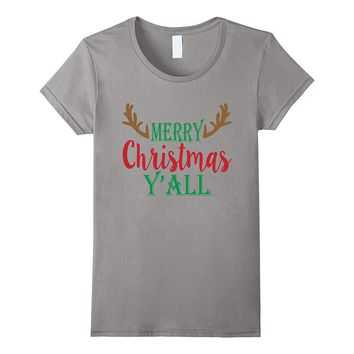 Merry Christmas Y'all Reindeer Country Gift T-Shirt