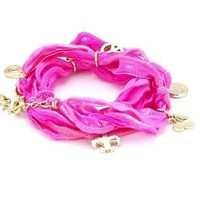 Ettika Fuchsia Knotted Vintage Ribbon Wrap Bracelet Silver Colored Charms: Jewelry: Amazon.com