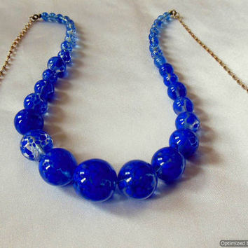 Vintage Necklace Azure Blue and Clear Glass Graduated Beads