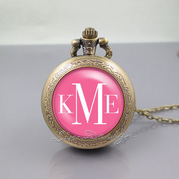 Monogram Pocket Watch Locket Necklace,vintage Rose pendant - ALL Colors Can be changed! [ Font style, Font color, Background color ... ]