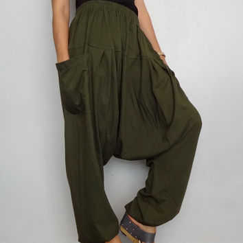 Green Drop crotch long trouser,Unisex harem Baggy pants, unique cotton blend (Drop pants-17).