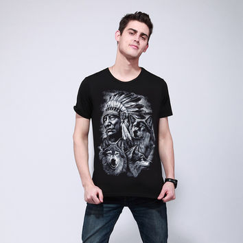 Indian Chief and Wolf T-Shirt