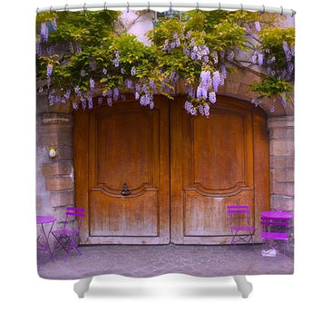 Paris Spring Wisteria Charming Cafe Polyester Fabric Shower Curtain