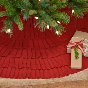 Festive Red Burlap Ruffled Tree Skirt