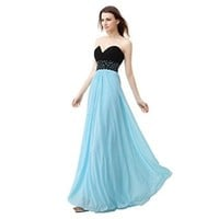 Ikerenwedding® Women's Strapless Sequins Sheath Long Lace-up Back Prom Dress