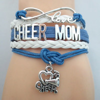 Infinity Love Cheer Mom Bracelet Gift - Hand Made Leather Strap Wrap
