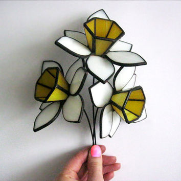 Daffodils Stained glass flower Garden decor Tiffany style 3d glass sculpture White daffodils Home decor