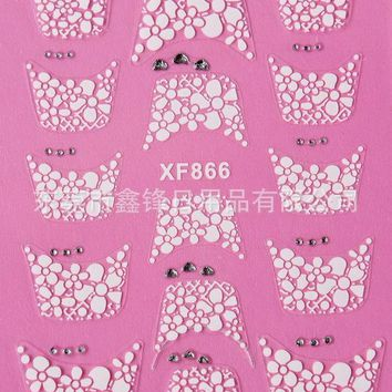 Water Transfer Nails Art Sticker Beautiful 3D French style Crystal design girl and women manicure tools Nail Wraps Decals XF866