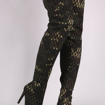 Netted Camouflage Stiletto Heeled Over-The-Knee Boots