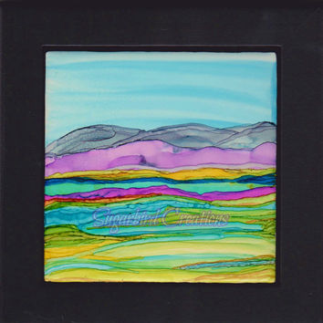 Mountain Marsh Alcohol Ink Painting on 4 inch Ceramic Tile with Black Frame