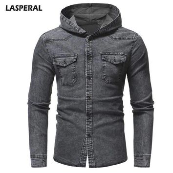 LASPERAL Men's Washed Casual Long-sleeved Denim Jacket Autumn And Winter Slim Hooded Classic Retro Men's Jacket