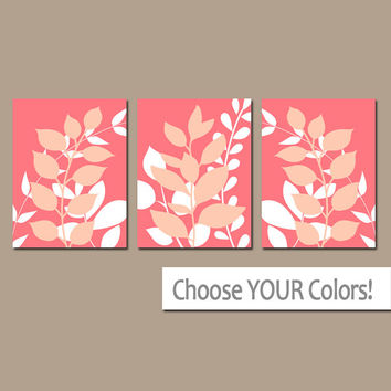 CORAL Wall Art, Bedroom Pictures, Leaves CANVAS or Prints Leaf Bathroom Artwork, Foliage Pictures, Flower Art, Set of 3 Home Decor