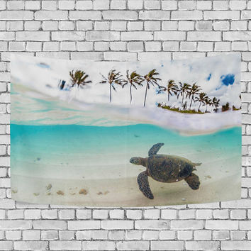 Beautiful Tropical Beach with Green Sea Turtle and Palm Tree Tapestry Wall Hanging Ocean Theme Wall  Decor Art