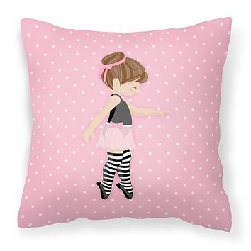 Ballerina Brunette Releve Fabric Decorative Pillow BB5175PW1414